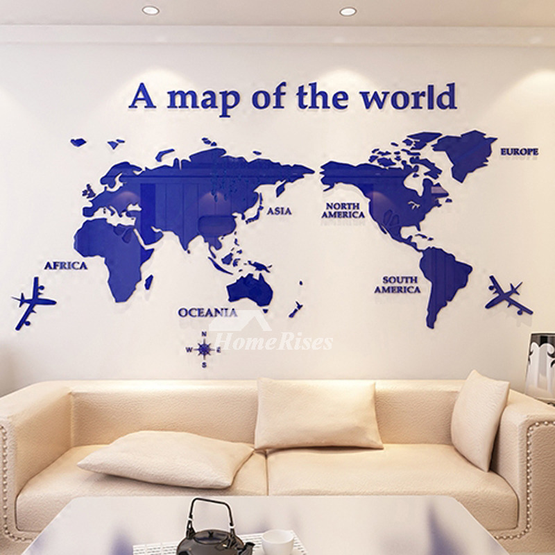 World Map Wall Decal D Acrylic BlueRedBlack Decorative Bedroom - World map wallpaper decal