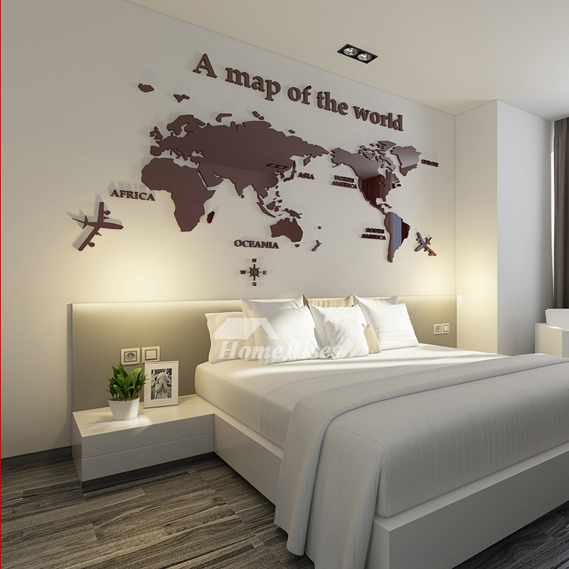 World Map Wall Decal 3d Acrylic Blue Red Black Decorative Bedroom