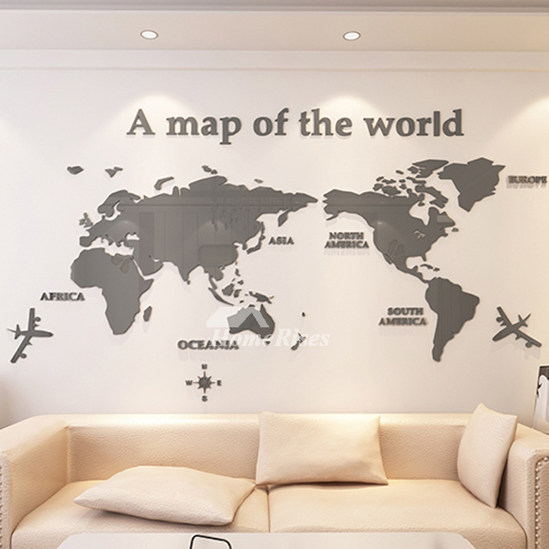 World Map Wall Decal 3D Acrylic Blue/Red/Black Decorative Bedroom on