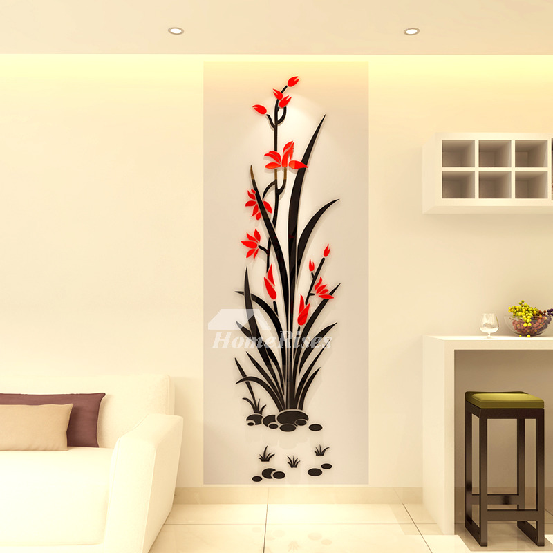 floral wall decals 3d acrylic decorative living room personalised