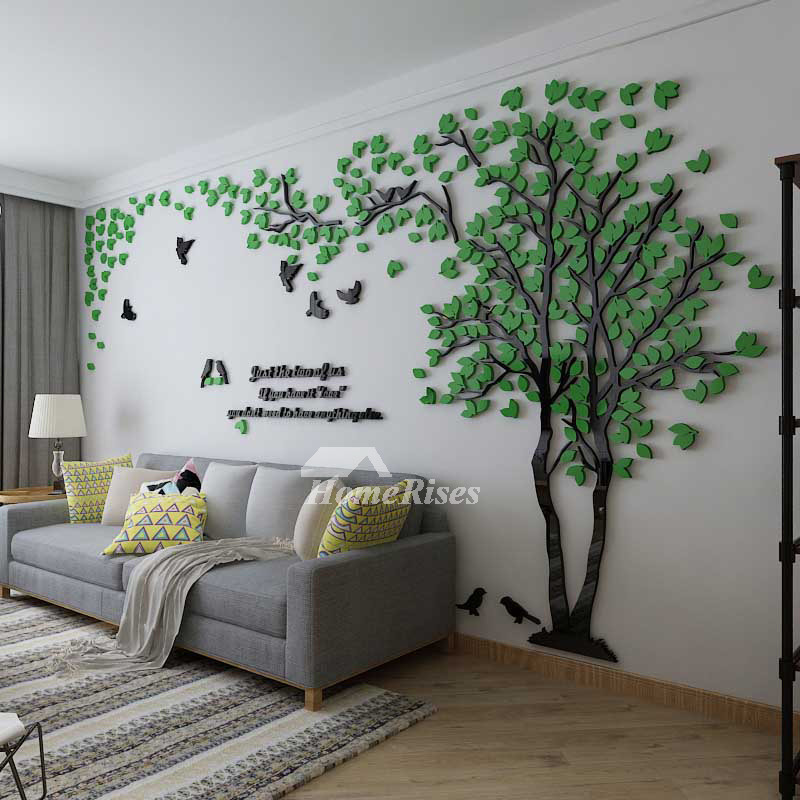 Tree wall decal 3d living room green yellow acrylic best - Wall sticker ideas for living room ...