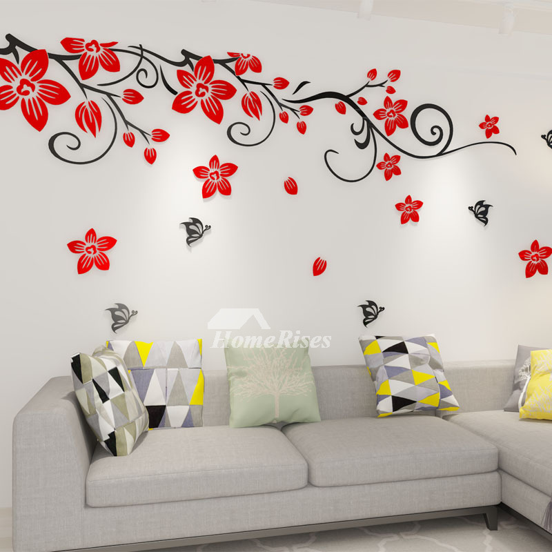 Flower Wall Decals Acrylic 3d Self Adhesive Living Room Decorative Rh  Homerises Com Living Room Wall Stickers Amazon Living Room Wall Stickers  Quotes