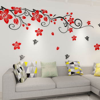 f6cd288b47d Flower Wall Decals Acrylic 3d Self Adhesive Living Room Decorative