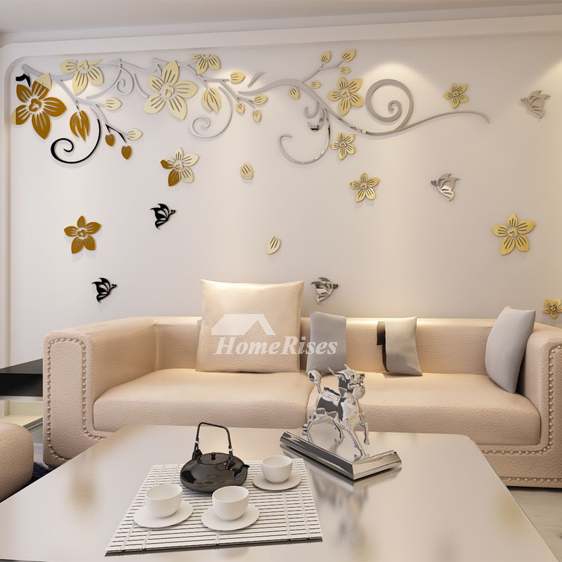 flower wall decals self adhesive home decorative acrylic for home