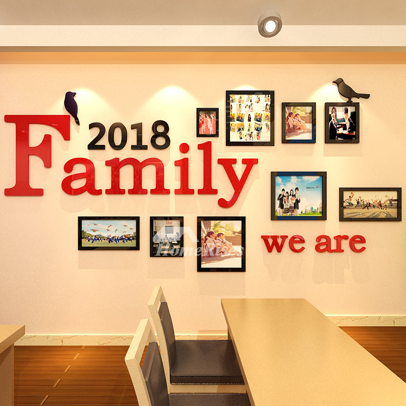 Family wall decals photo frame acrylic living room 3d home - Wall sticker ideas for living room ...