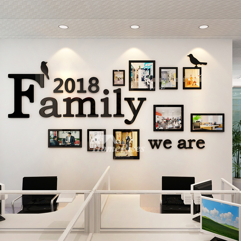Family wall decals photo frame acrylic living room 3d home - Picture wall ideas for living room ...