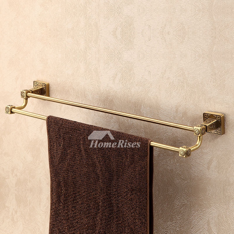 Ltj Towel Rack Bathroom Luxury Wall Mounted Carved Brass Hotel