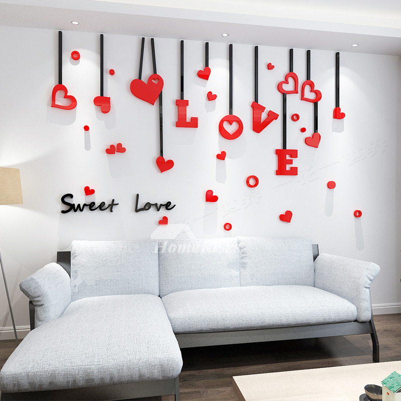 Love Wall Decals Acrylic 3d Living Room For Adults Living Room