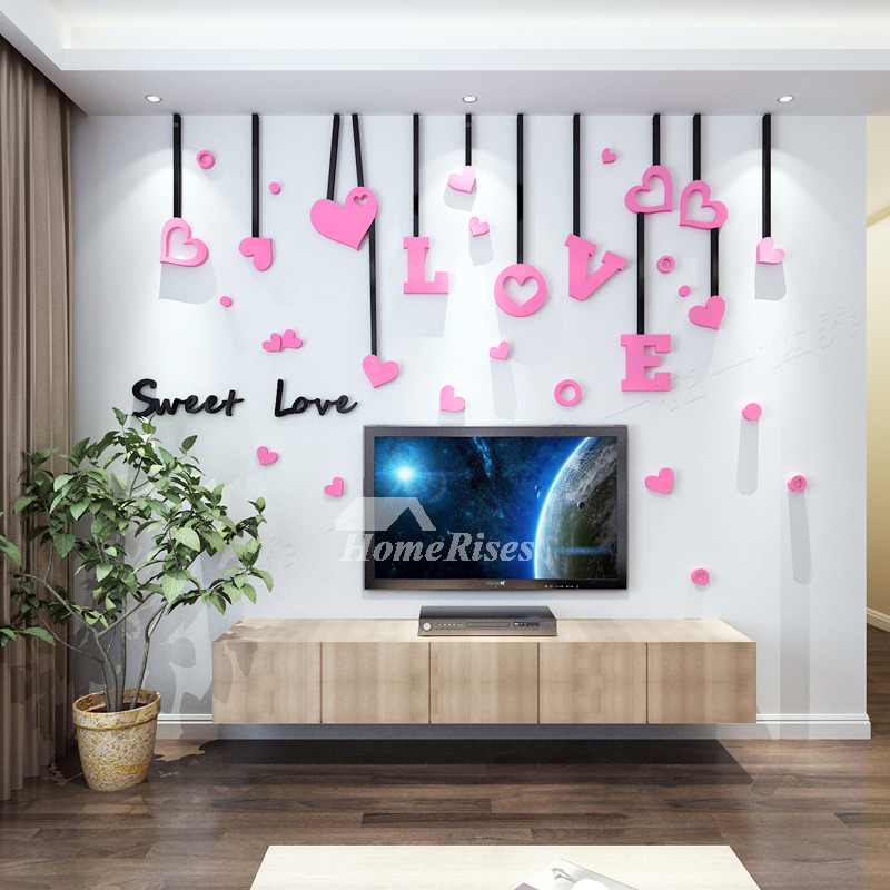 lovely living room wall decals | Love Wall Decals Acrylic 3d Living Room For Adults Living ...