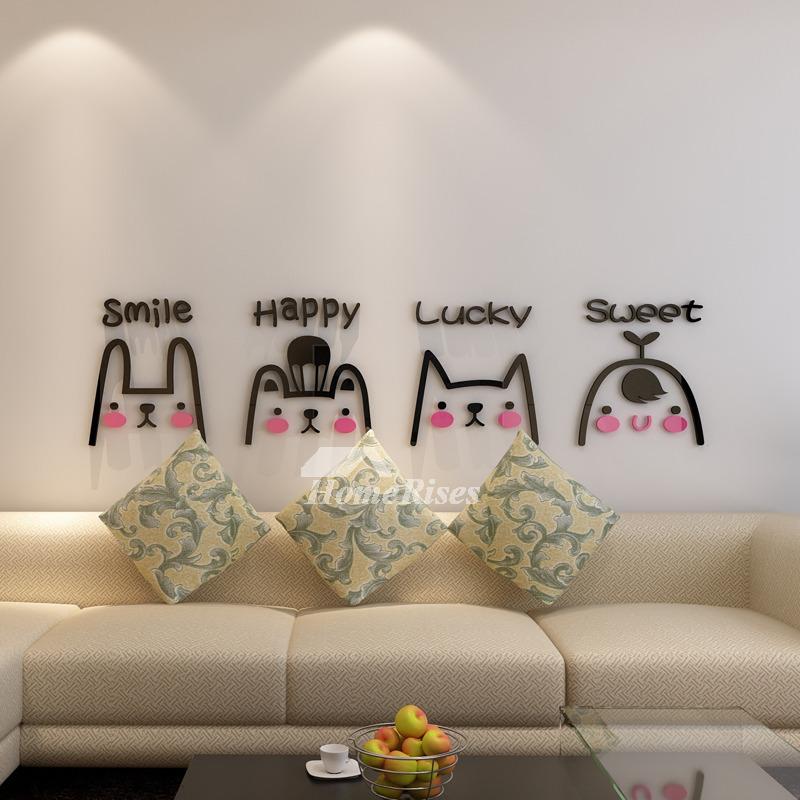 Vinyl Wall Art Decals Letter Animal Acrylic For Kids Living Room Mural