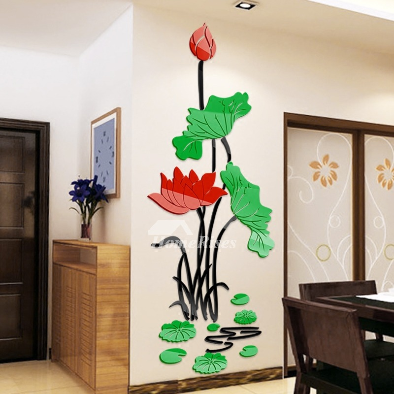 flower wall decals home decor personalised acrylic 3d decorative