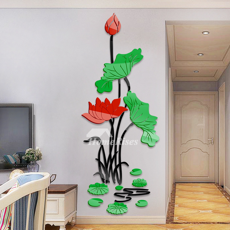 s30 Interior Floral Wall Decal Mural Flowers Wall Vinyl Pink Flower On Branch