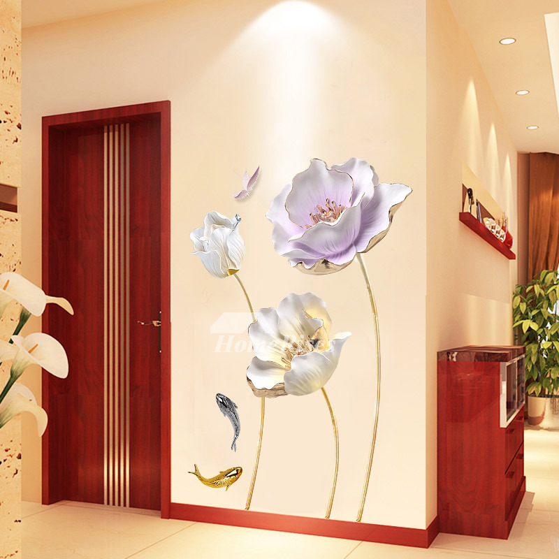 Flower Wall Decals Home Decor Personalised Self Adhesive Bedroom
