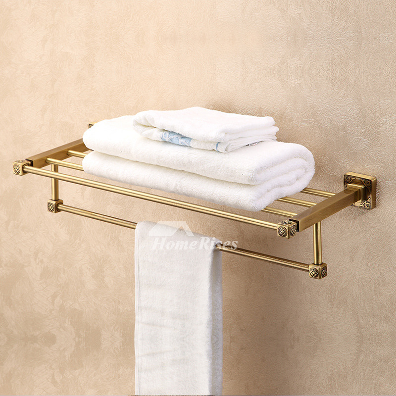 LTJ Towel Rack With Shelf Wall Mounted Bathroom Antique Brass Luxury