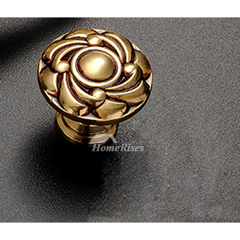 Gold Drawer Knobs Carved Brass Antique Closet Cabinet