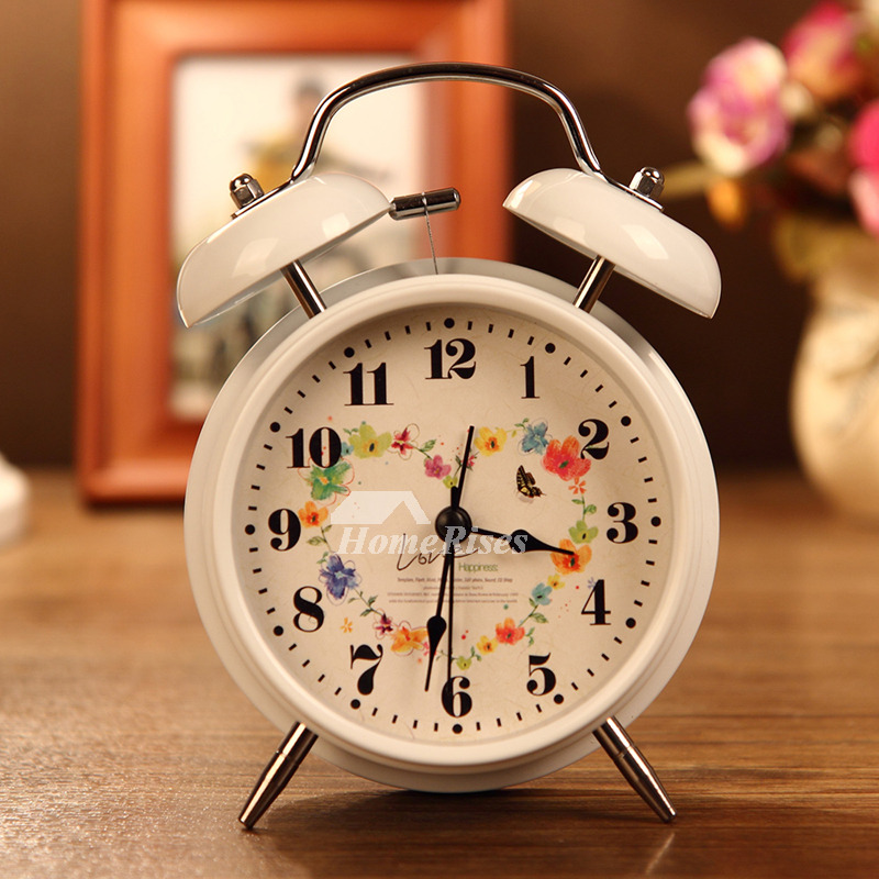 Small Alarm Clock White Black Metal Battery Operated