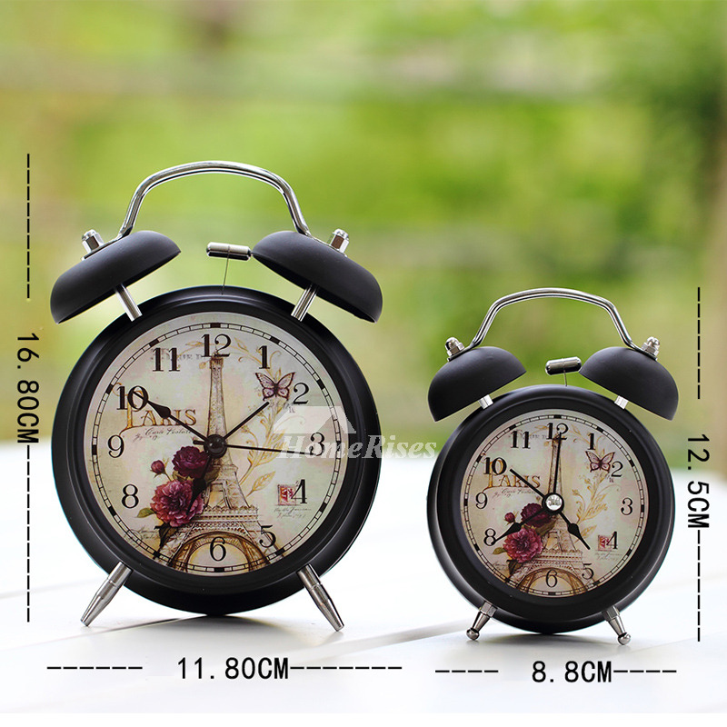 Small Alarm Clock White Black Metal