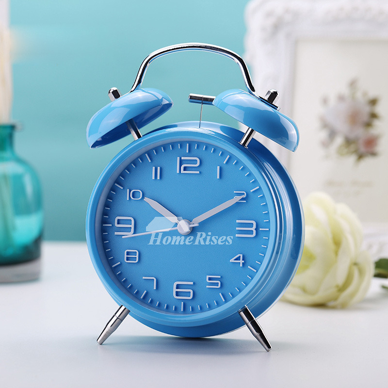 Creative Best Alarm Clock Kids Metal Modern Silent Black Silver Blue