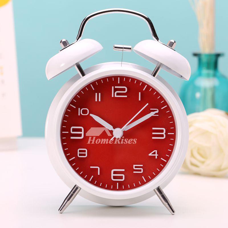 Modern Alarm Clock Black White Yellow Metal Silent Battery