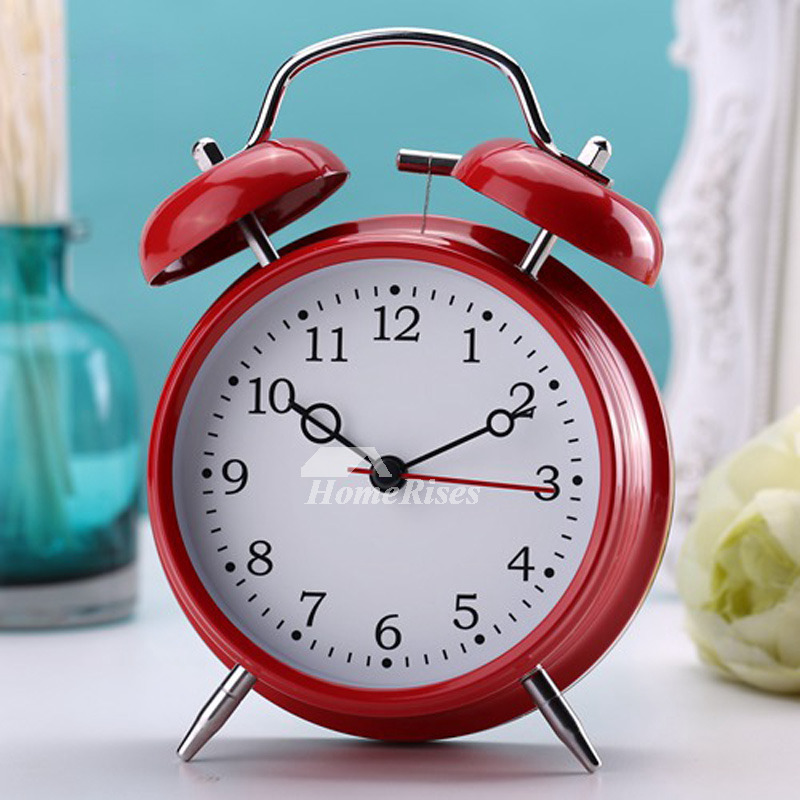 Loud Alarm Clock Black Red Yellow Metal Painting Battery