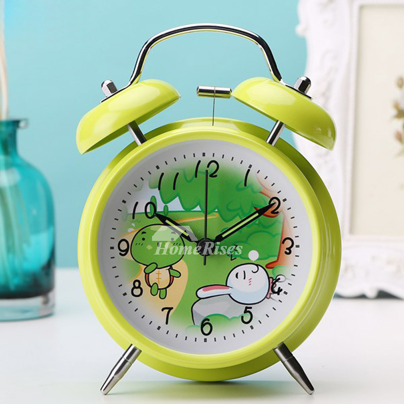 Battery Operated Alarm Clock Metal Green/White/Blue Silent Best Sale