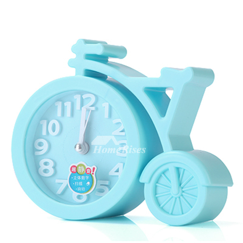 Small Alarm Clock Green Pink Black Blue Plastic Free