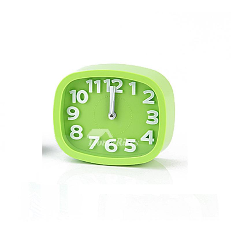 Simple Alarm Clock ABS Plastic Creative Silent Green/Pink Modern