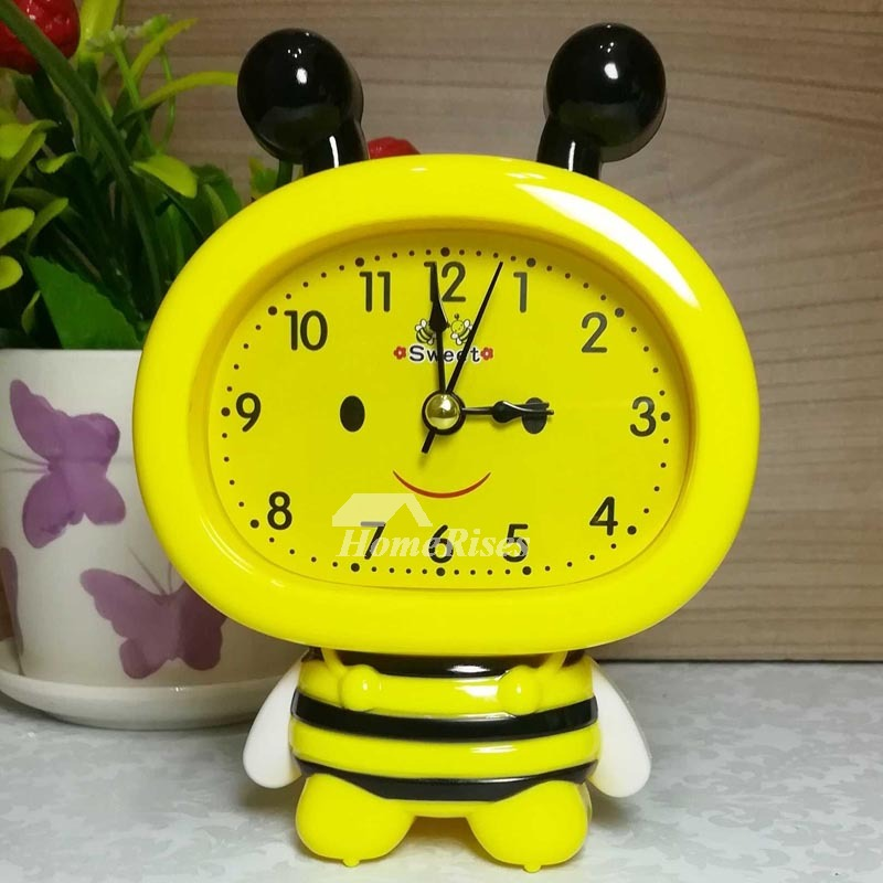 Kids Alarm Clock Blue Yellow Pink Abs Plastic Cute Good