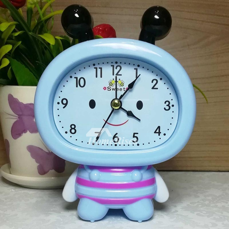 Kids Alarm Clock Pink/Blue/Purple ABS Plastic Cute Silent Cheap Solid