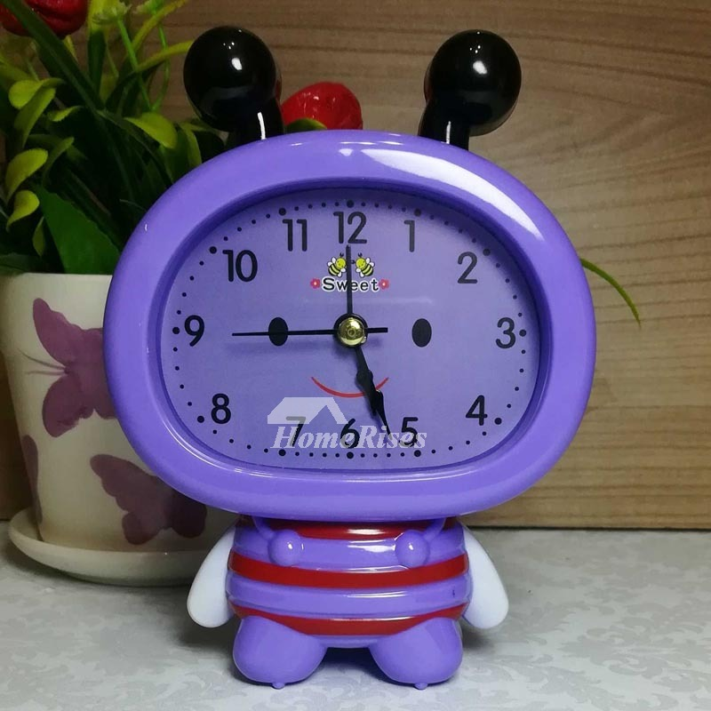 Kids Alarm Clock Pink Blue Purple Abs Plastic Cute Silent