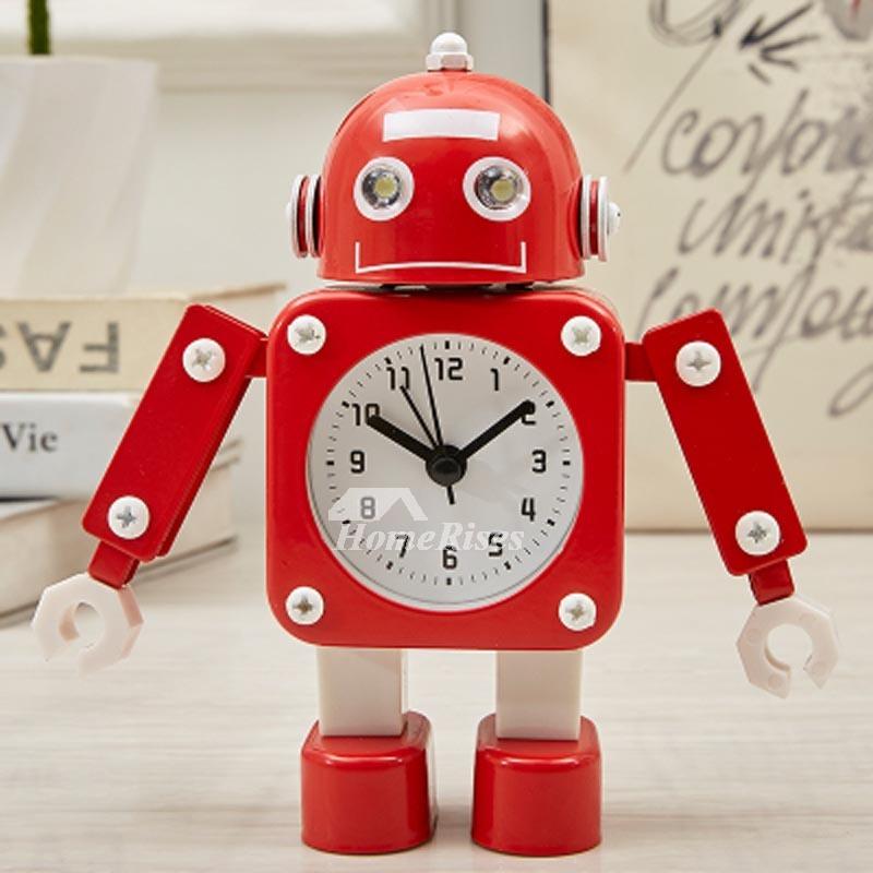 Fantastic Children's Alarm Clock Red/Green Plastic Metal Free Standing Robot UI18