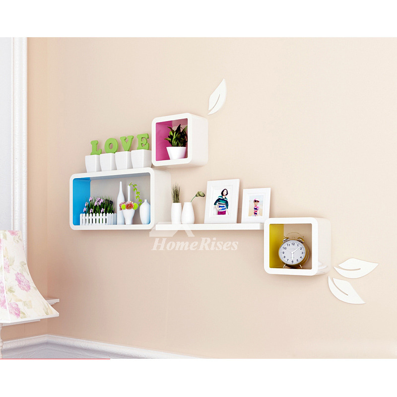 Modern Wooden Cube Wall Shelves Wall Mounted White Decorative