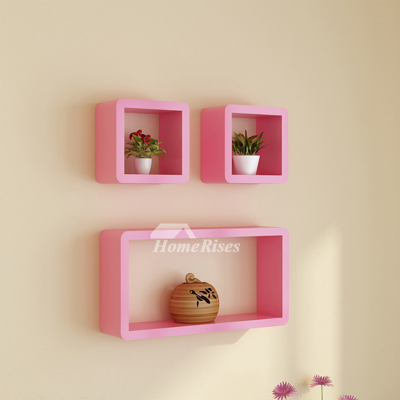 Contemporary Wall Shelves Decorative: Modern Wall Shelves White/Pink/Blue Wooden Wall Mounted Decorative