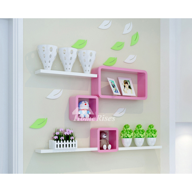 Wall Storage Shelves Pink Cube Wooden Kitchen Modern Bedroom