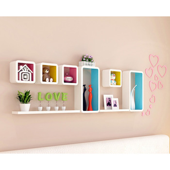 Charming Living Room Wall Shelves Wooden Decorative Wall Mounted Cube