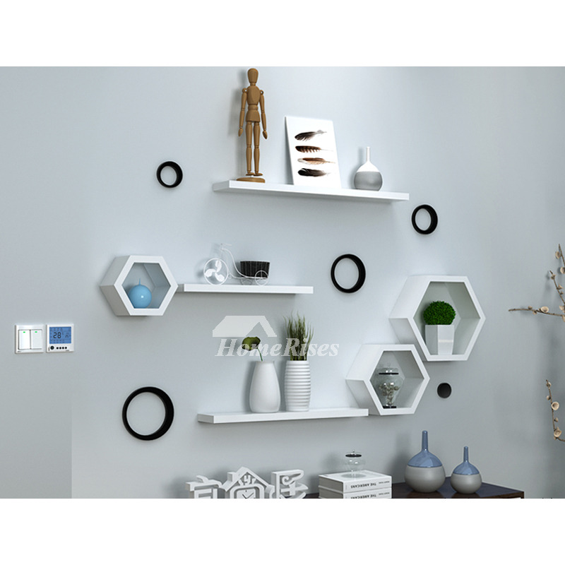 Wall Mounted Wood Shelves Decorative Hexagon White Modern