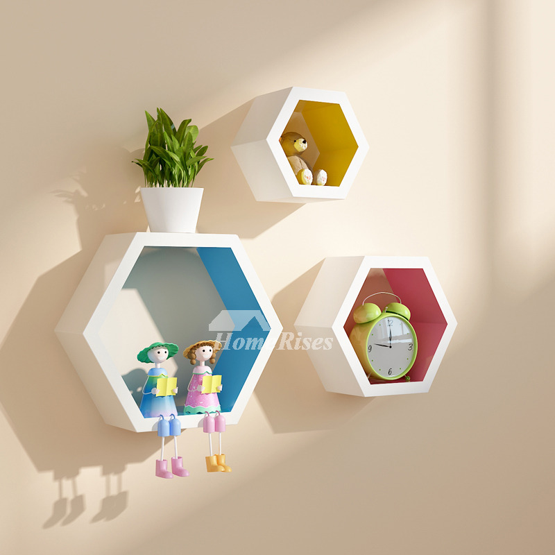 Decorative Room: Decorative Wall Shelves Hexagon Wooden Modern Living Room Best