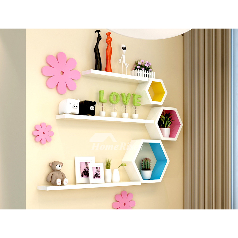 Cheap Wall Shelves Wooden Decorative Modern Hexagon Bedroom