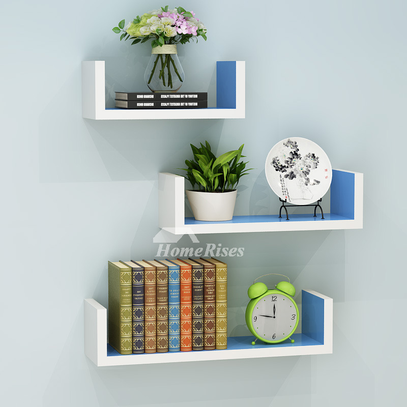 Wall Book Shelves Wooden Living Room Modern Design Rectangular