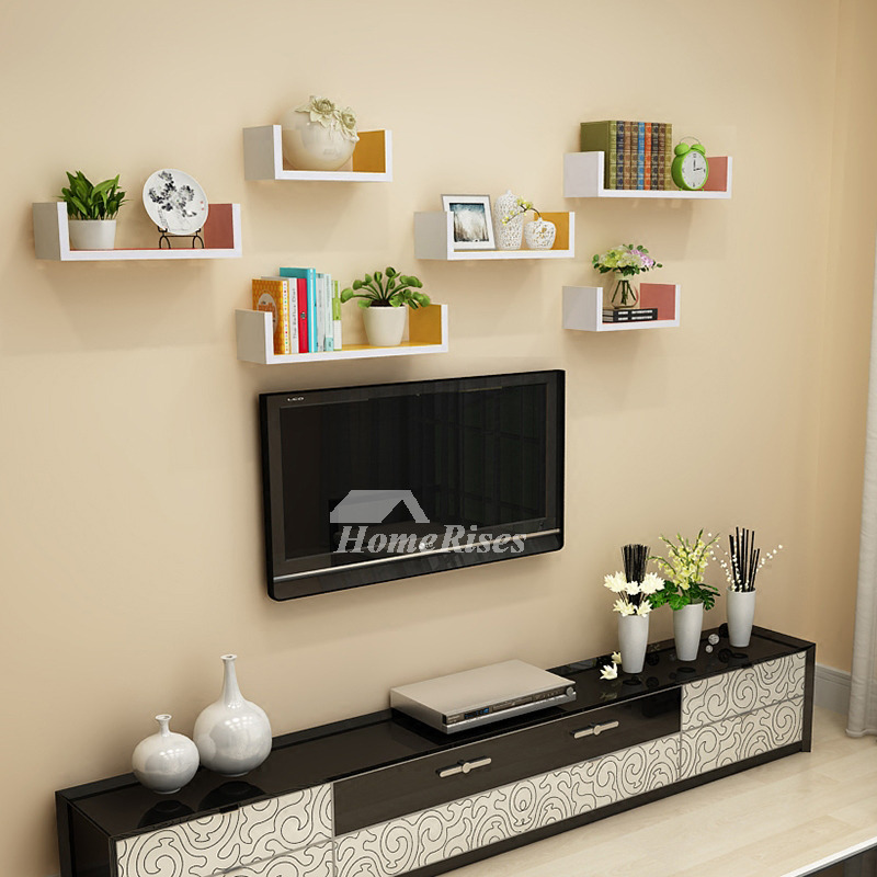 Wall Book Shelves Wooden Living Room