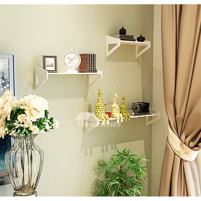 White Wall Mounted Shelves PVC Ledges Decorative Unique Living Room