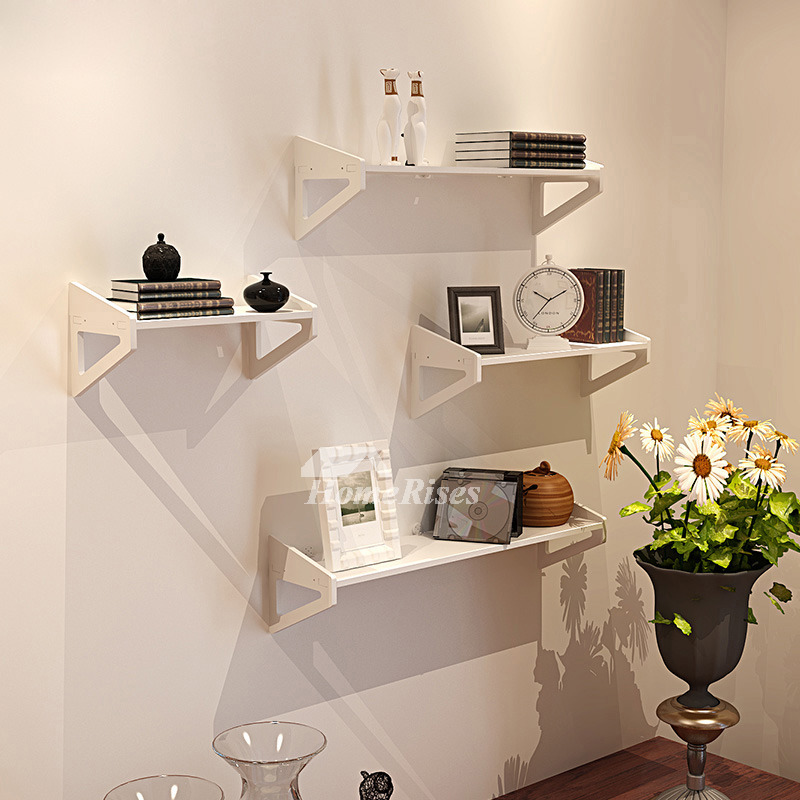 White Wall Mounted Shelves PVC Ledges Decorative Unique ...