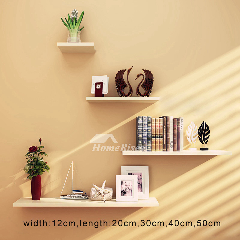 White Decorative Wooden Wall Shelves And Ledges Rectangular
