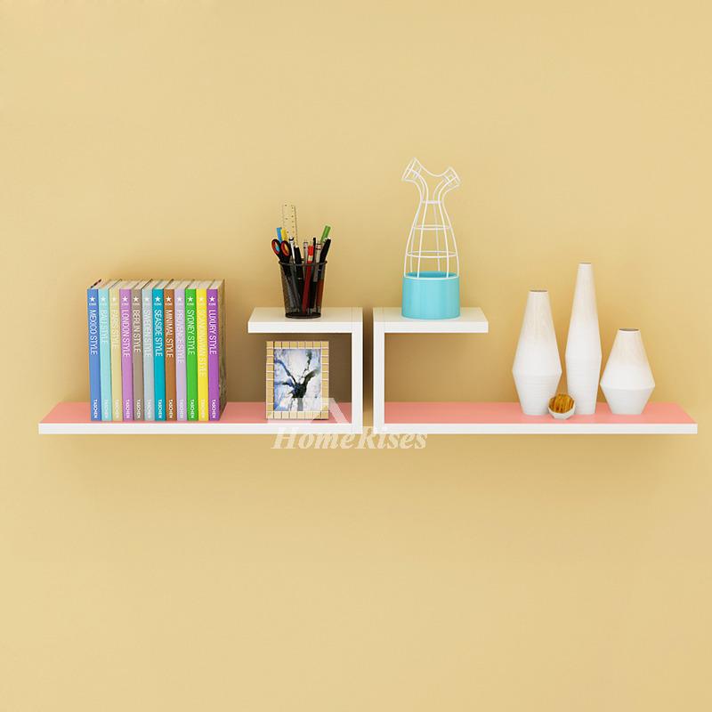Wooden Wall Shelves Rectangular White Hanging Storage Bedroom