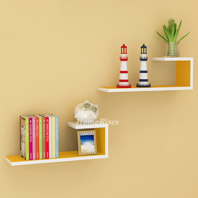 & Wooden Wall Shelves Rectangular White Hanging Storage Bedroom