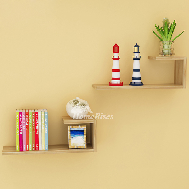 Wall mounted book shelves contemporary design hanging wooden - Wall mounted wooden temple design for home ...