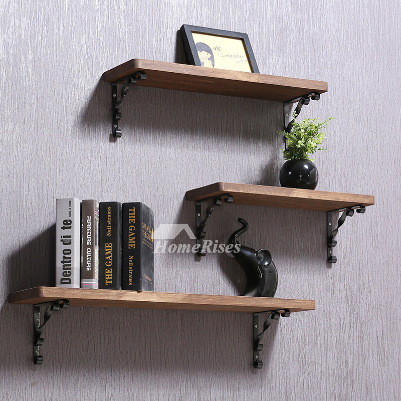Contemporary Wall Shelves Wooden Ledges Decorative Rustic
