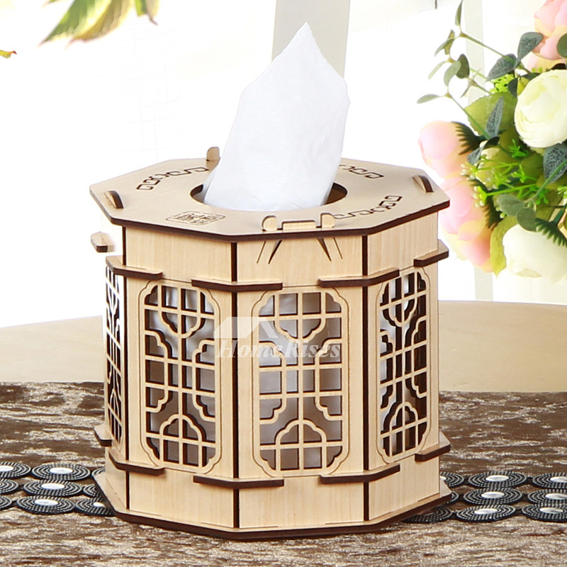 Tissue Box Cover Carved Wooden Rectangular Decorative Rustic