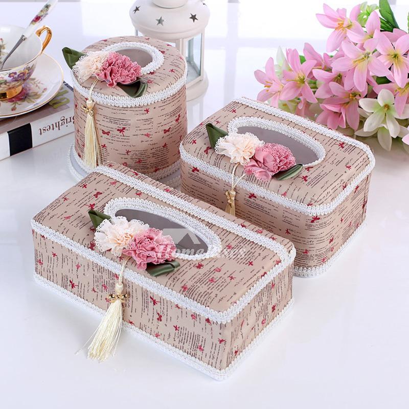 Empty Tissue Box Set Plastic Fabric 3 Piece Decorative