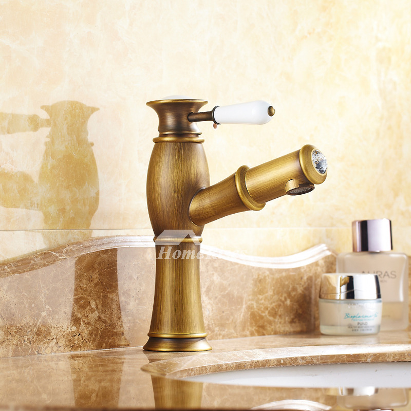 Hole Bathroom Faucet Antique Brass Centerset Pull-Out